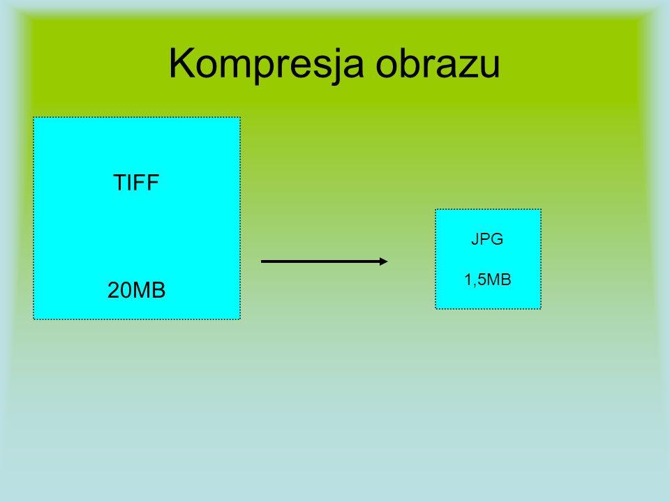 Kompresja obrazu TIFF 20MB JPG 1,5MB