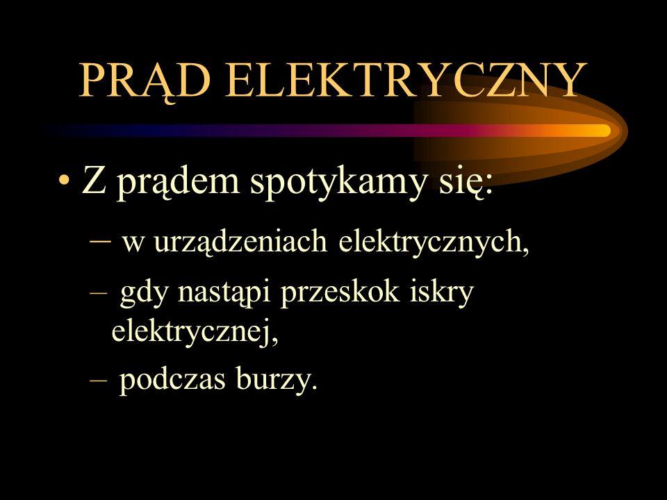 PRĄD ELEKTRYCZNY Z prądem spotykamy się: w urządzeniach elektrycznych,