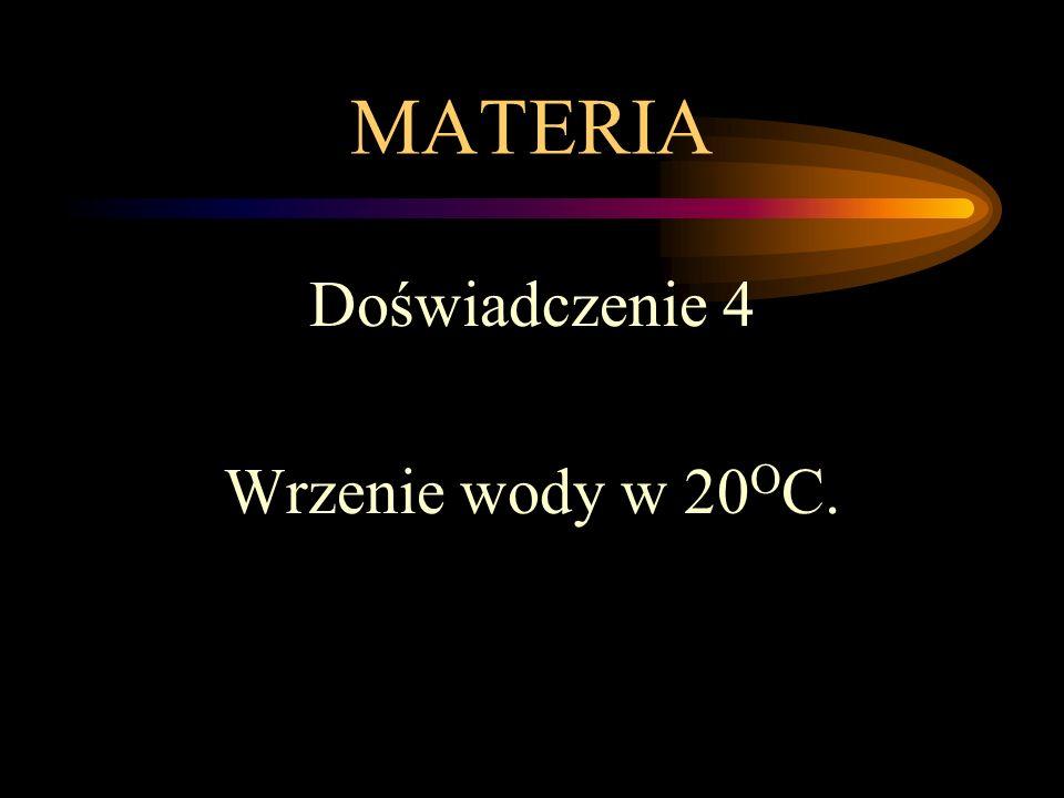 MATERIA Doświadczenie 4 Wrzenie wody w 20OC.