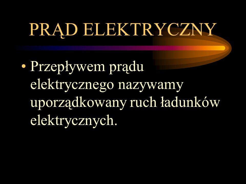 PRĄD ELEKTRYCZNY Przepływem prądu elektrycznego nazywamy uporządkowany ruch ładunków elektrycznych.