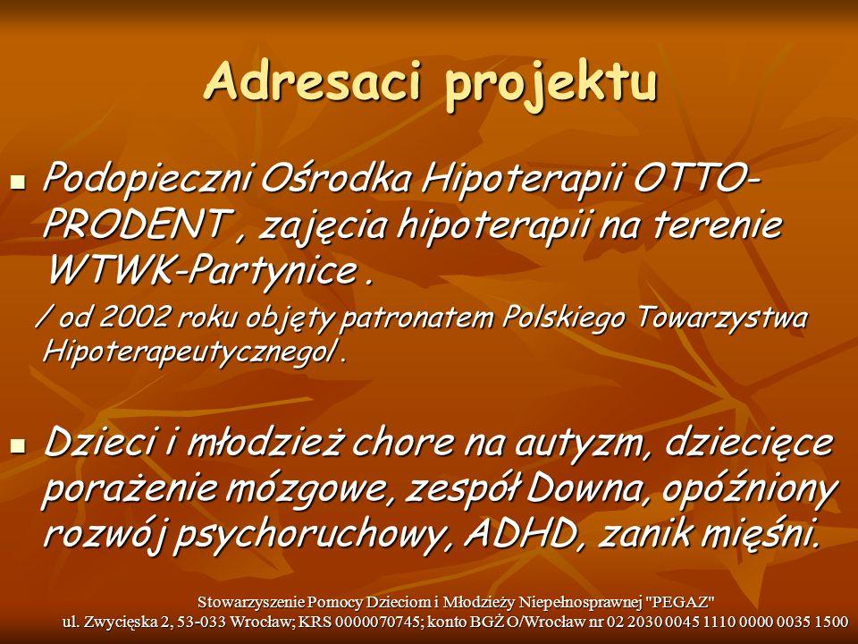 Adresaci projektu Podopieczni Ośrodka Hipoterapii OTTO-PRODENT , zajęcia hipoterapii na terenie WTWK-Partynice .
