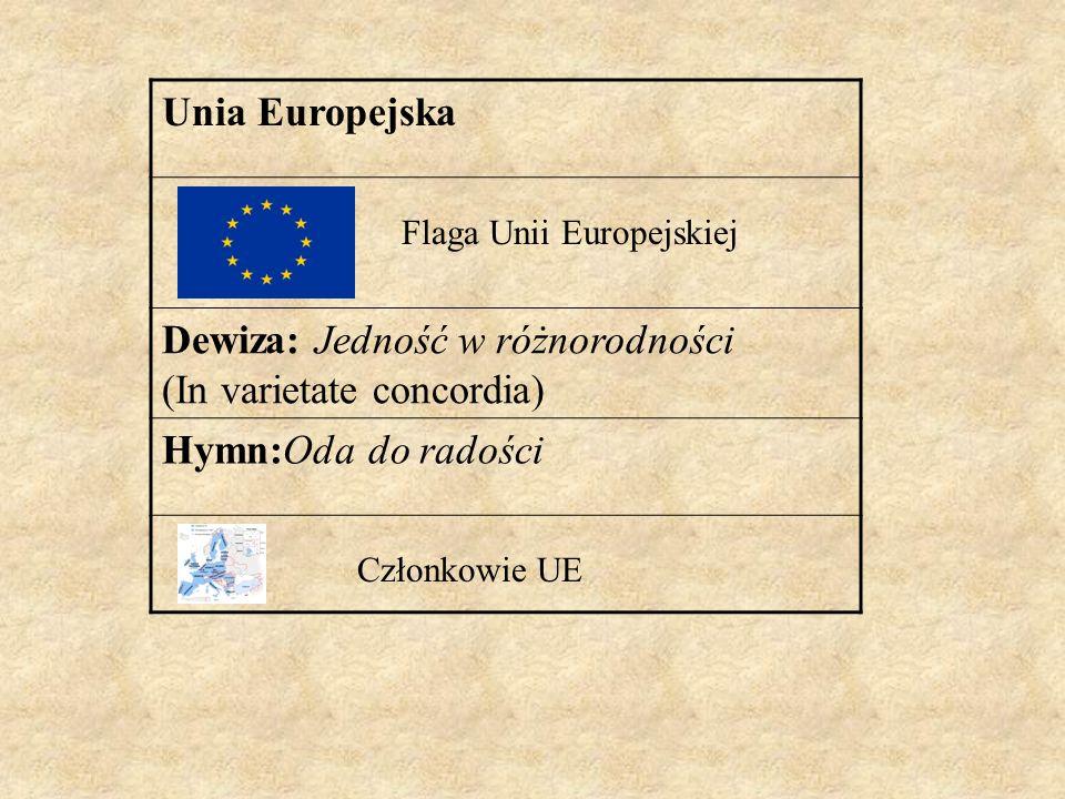 Dewiza: Jedność w różnorodności (In varietate concordia)