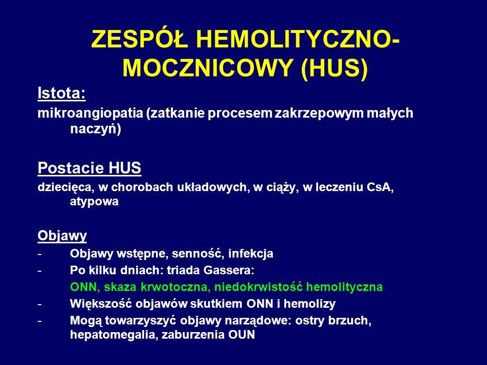 ZESPÓŁ HEMOLITYCZNO-MOCZNICOWY (HUS)
