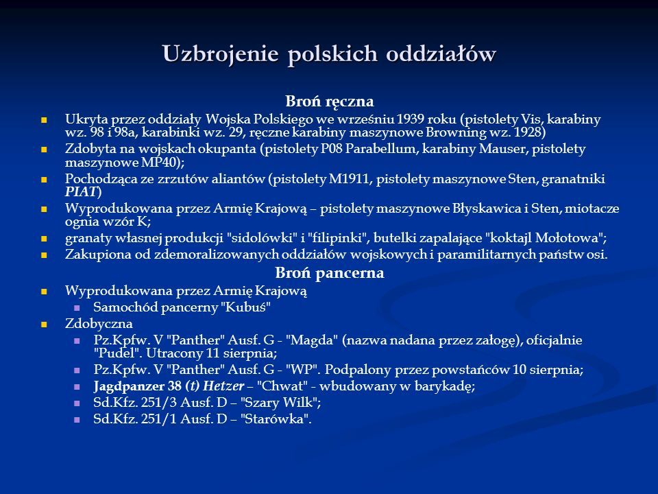 Uzbrojenie polskich oddziałów
