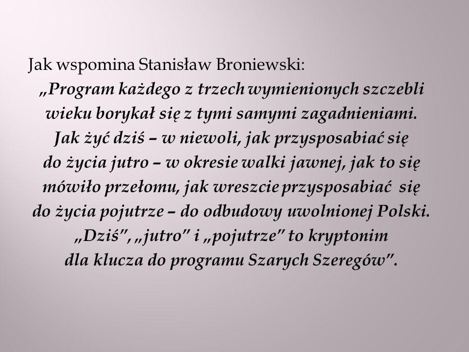 Jak wspomina Stanisław Broniewski: