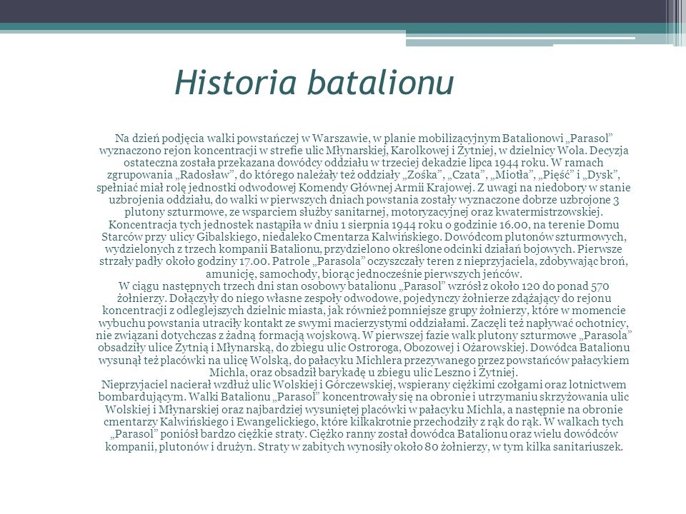 Historia batalionu