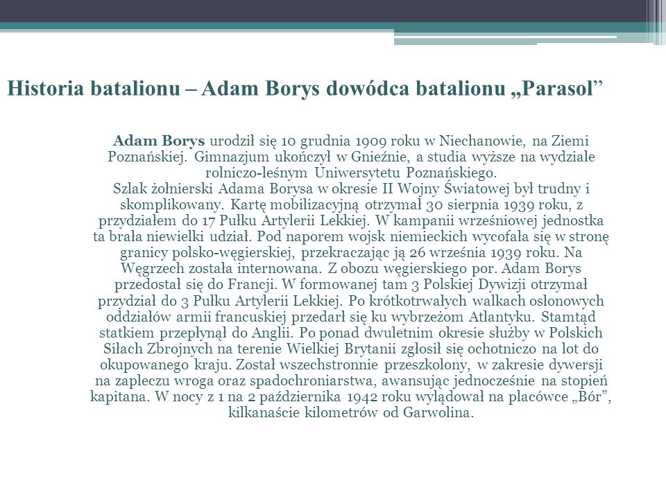 "Historia batalionu – Adam Borys dowódca batalionu ""Parasol"