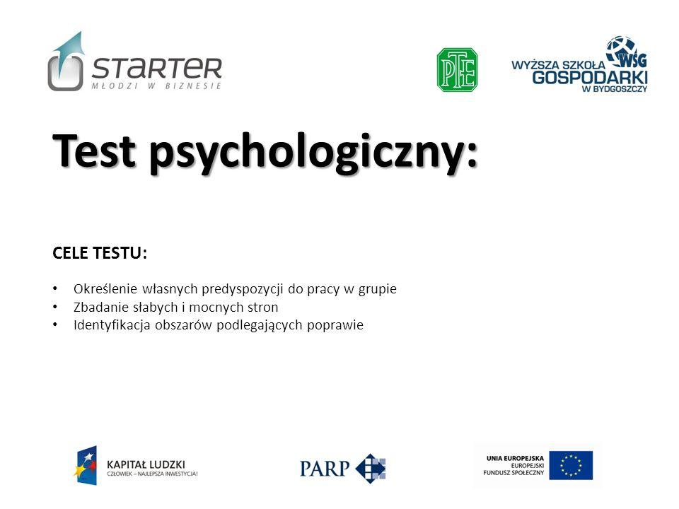 Test psychologiczny: CELE TESTU: