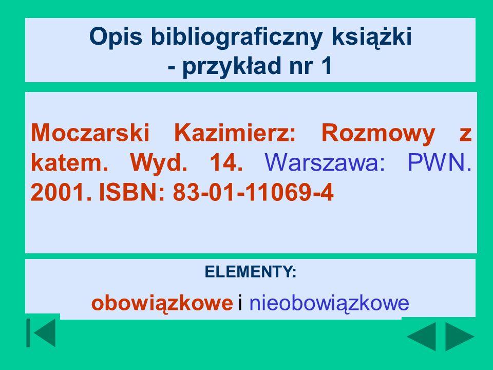 Opis bibliograficzny książki - przykład nr 1