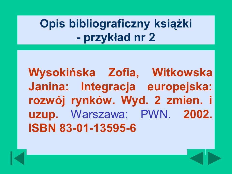 Opis bibliograficzny książki - przykład nr 2