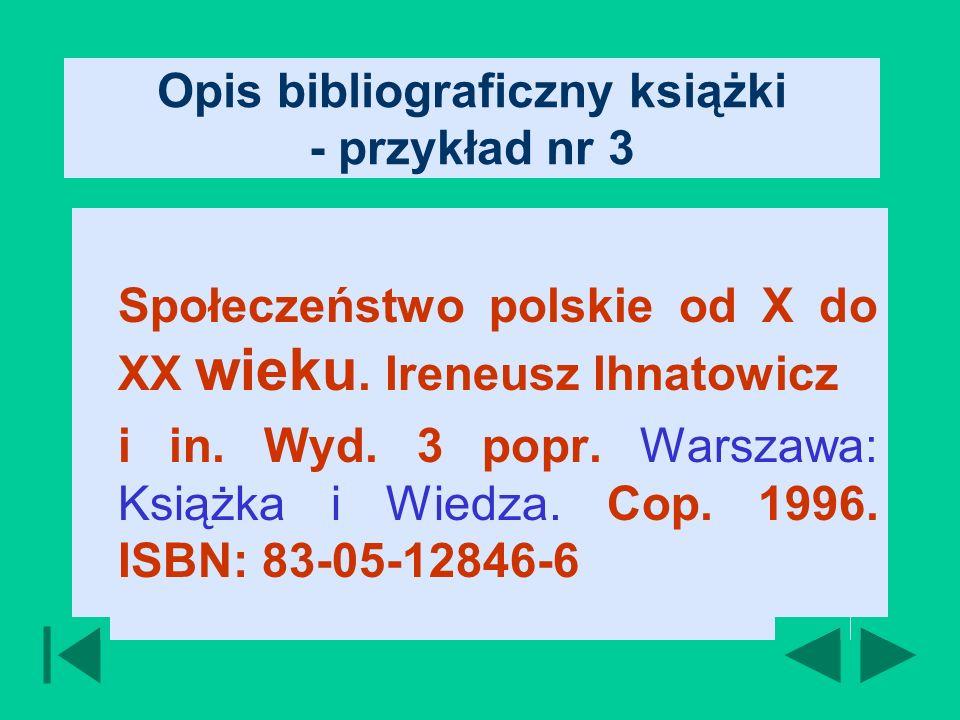 Opis bibliograficzny książki - przykład nr 3