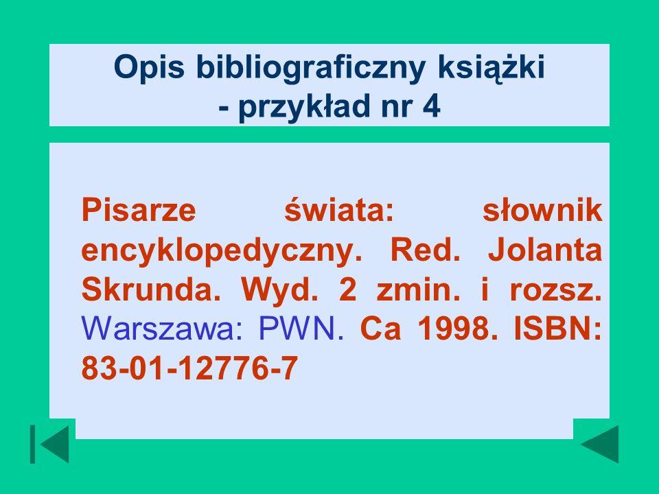 Opis bibliograficzny książki - przykład nr 4