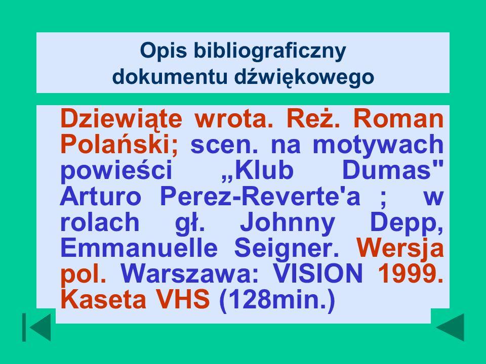 Opis bibliograficzny dokumentu dźwiękowego