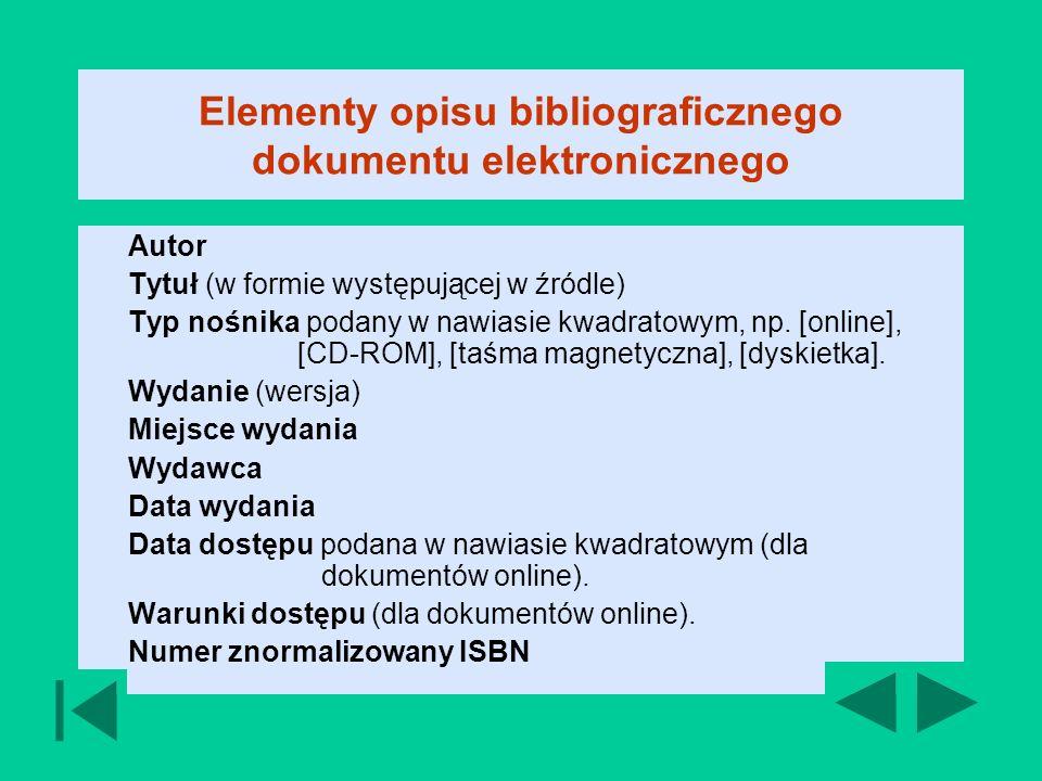 Elementy opisu bibliograficznego dokumentu elektronicznego