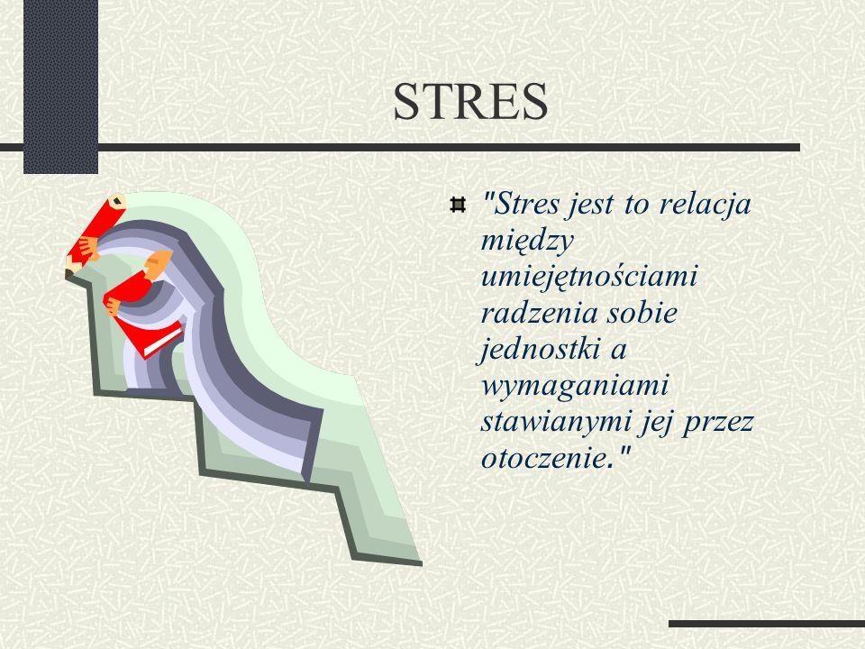 STRES Stres jest to relacja między umiejętnościami radzenia sobie jednostki a wymaganiami stawianymi jej przez otoczenie.