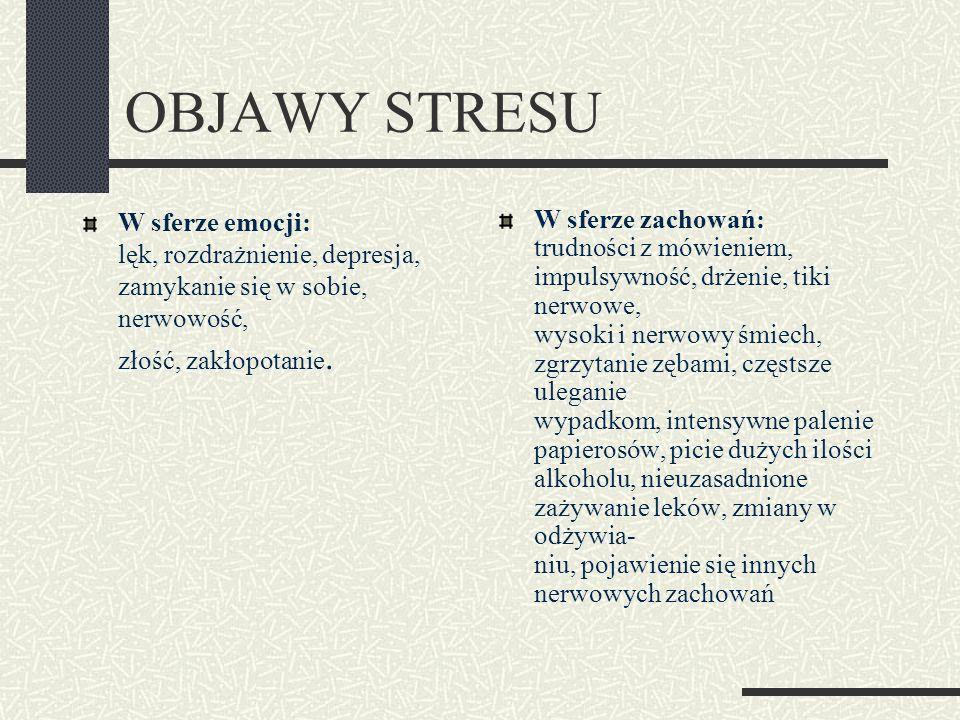 OBJAWY STRESU W sferze emocji: lęk, rozdrażnienie, depresja, zamykanie się w sobie, nerwowość, złość, zakłopotanie.