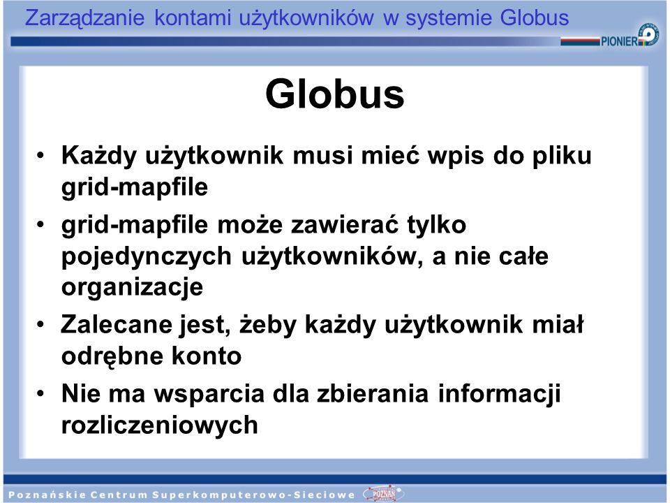 Globus Każdy użytkownik musi mieć wpis do pliku grid-mapfile
