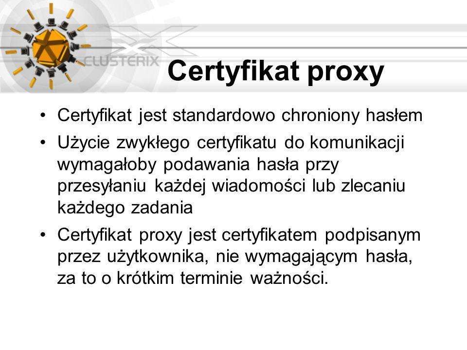 Certyfikat proxy Certyfikat jest standardowo chroniony hasłem