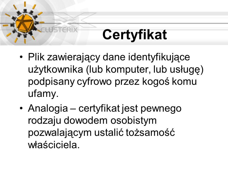 Certyfikat Plik zawierający dane identyfikujące użytkownika (lub komputer, lub usługę) podpisany cyfrowo przez kogoś komu ufamy.
