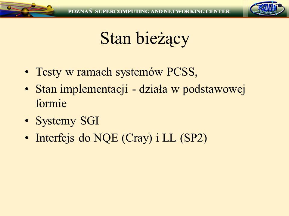 Stan bieżący Testy w ramach systemów PCSS,
