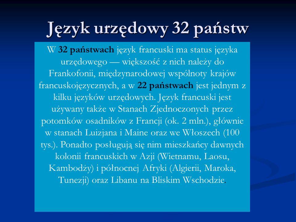 Język urzędowy 32 państw