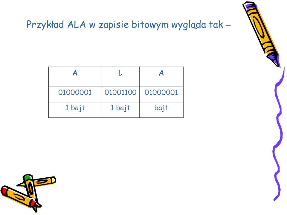 Przykład ALA w zapisie bitowym wygląda tak –