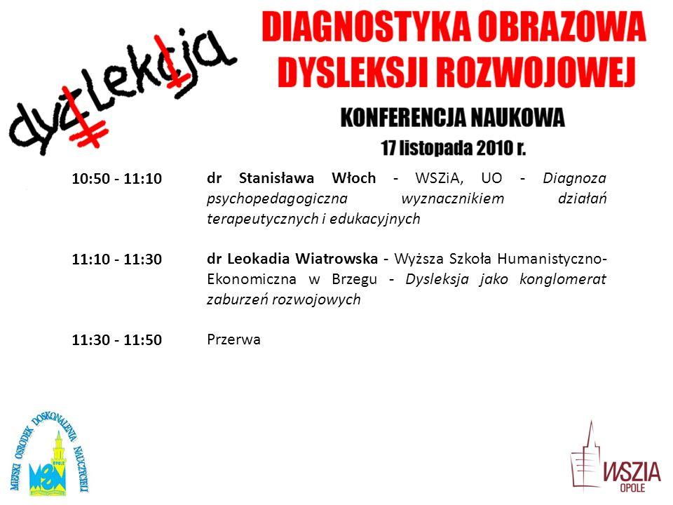10:50 - 11:10 dr Stanisława Włoch - WSZiA, UO - Diagnoza psychopedagogiczna wyznacznikiem działań terapeutycznych i edukacyjnych.