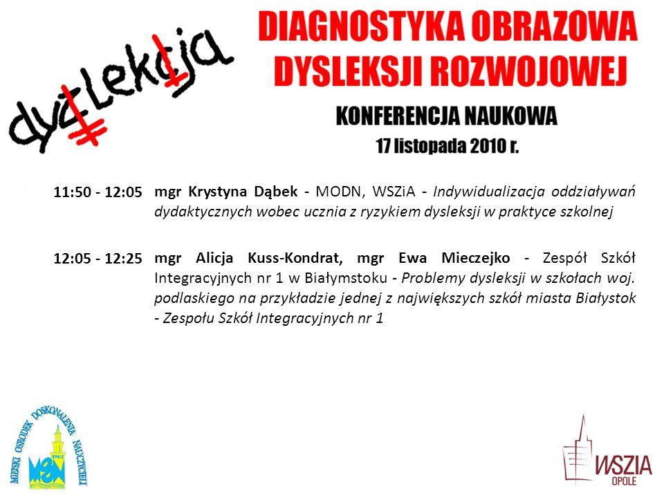 11:50 - 12:05 mgr Krystyna Dąbek - MODN, WSZiA - Indywidualizacja oddziaływań dydaktycznych wobec ucznia z ryzykiem dysleksji w praktyce szkolnej.