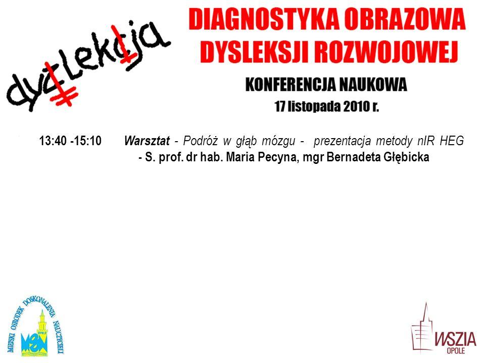 13:40 -15:10 Warsztat - Podróż w głąb mózgu - prezentacja metody nIR HEG - S. prof. dr hab. Maria Pecyna, mgr Bernadeta Głębicka.