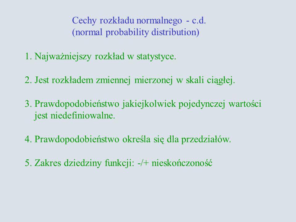Cechy rozkładu normalnego - c.d.