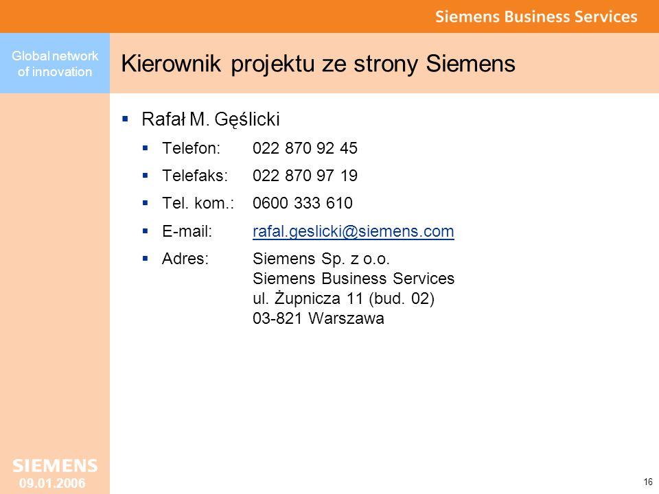 Kierownik projektu ze strony Siemens