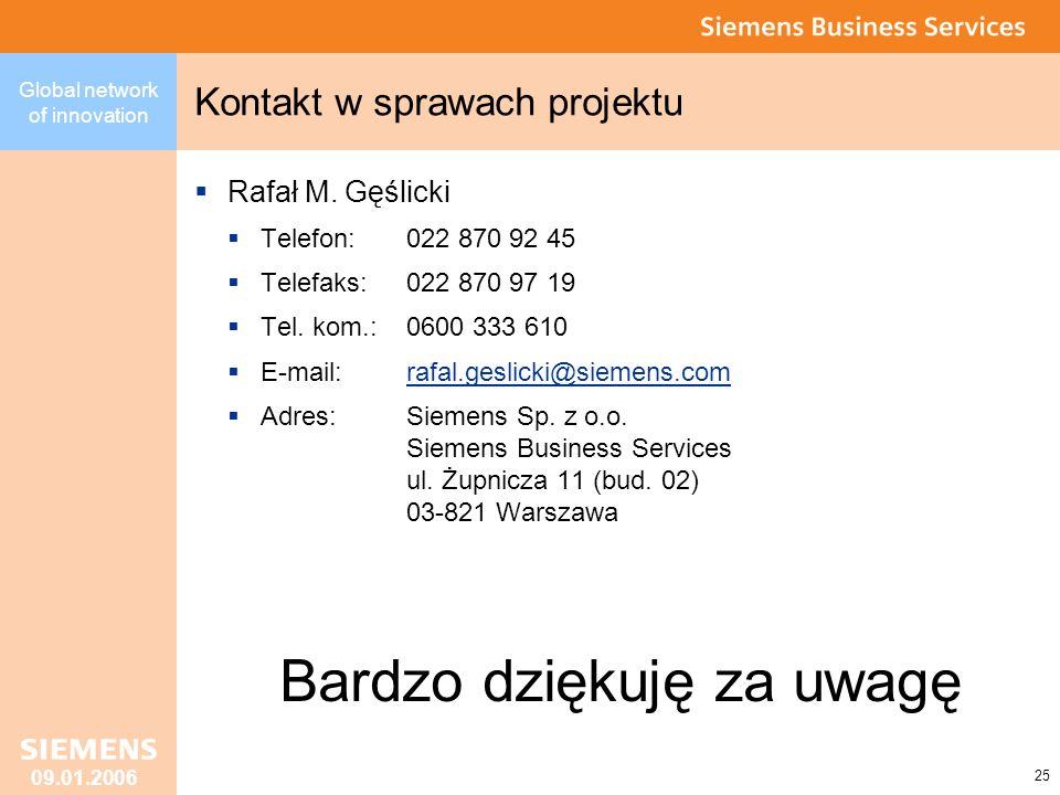 Kontakt w sprawach projektu