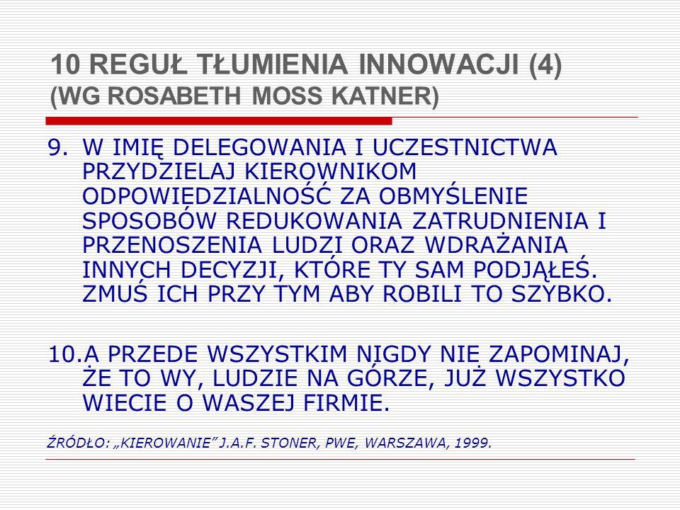 10 REGUŁ TŁUMIENIA INNOWACJI (4) (WG ROSABETH MOSS KATNER)