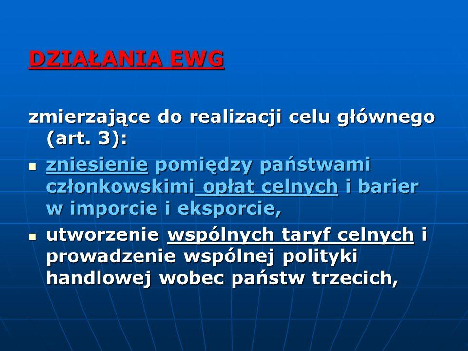 DZIAŁANIA EWG zmierzające do realizacji celu głównego (art. 3):
