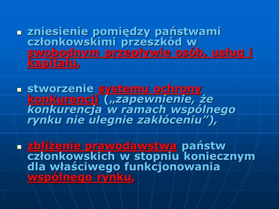 zniesienie pomiędzy państwami członkowskimi przeszkód w swobodnym przepływie osób, usług i kapitału,