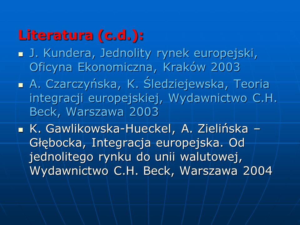 Literatura (c.d.): J. Kundera, Jednolity rynek europejski, Oficyna Ekonomiczna, Kraków 2003.