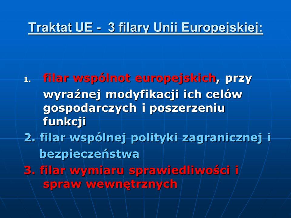 Traktat UE - 3 filary Unii Europejskiej: