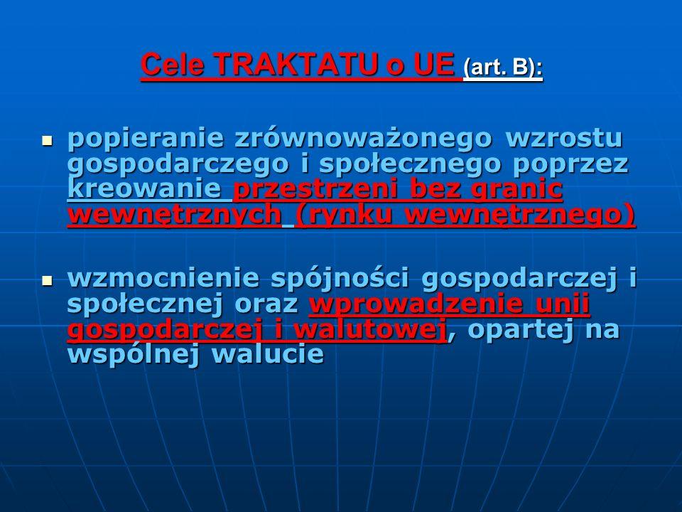 Cele TRAKTATU o UE (art. B):