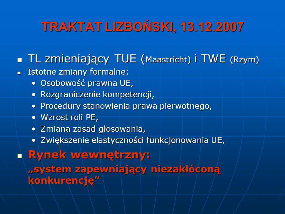 TRAKTAT LIZBOŃSKI, 13.12.2007 TL zmieniający TUE (Maastricht) i TWE (Rzym) Istotne zmiany formalne: