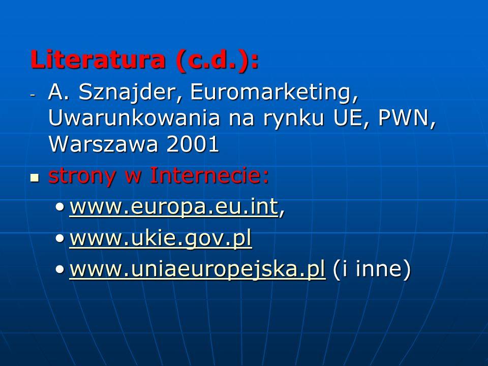 Literatura (c.d.): A. Sznajder, Euromarketing, Uwarunkowania na rynku UE, PWN, Warszawa 2001. strony w Internecie: