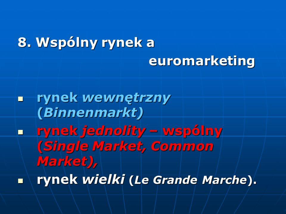 8. Wspólny rynek a euromarketing. rynek wewnętrzny (Binnenmarkt) rynek jednolity – wspólny (Single Market, Common Market),
