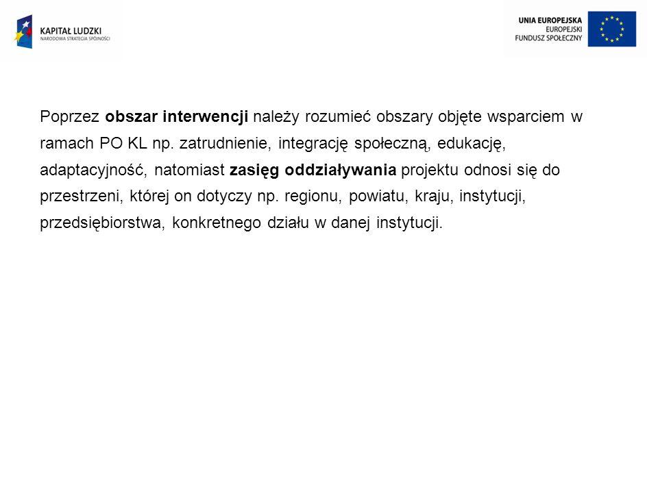 Poprzez obszar interwencji należy rozumieć obszary objęte wsparciem w