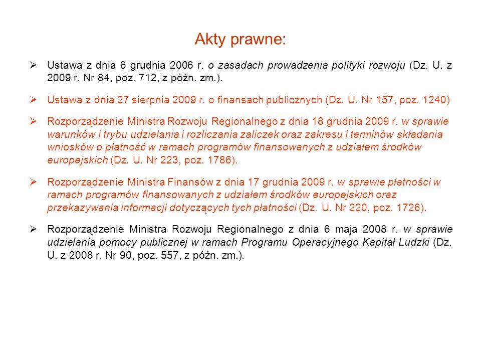 Akty prawne: Ustawa z dnia 6 grudnia 2006 r. o zasadach prowadzenia polityki rozwoju (Dz. U. z 2009 r. Nr 84, poz. 712, z późn. zm.).