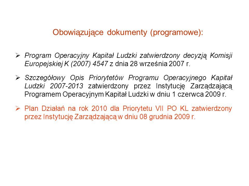 Obowiązujące dokumenty (programowe):