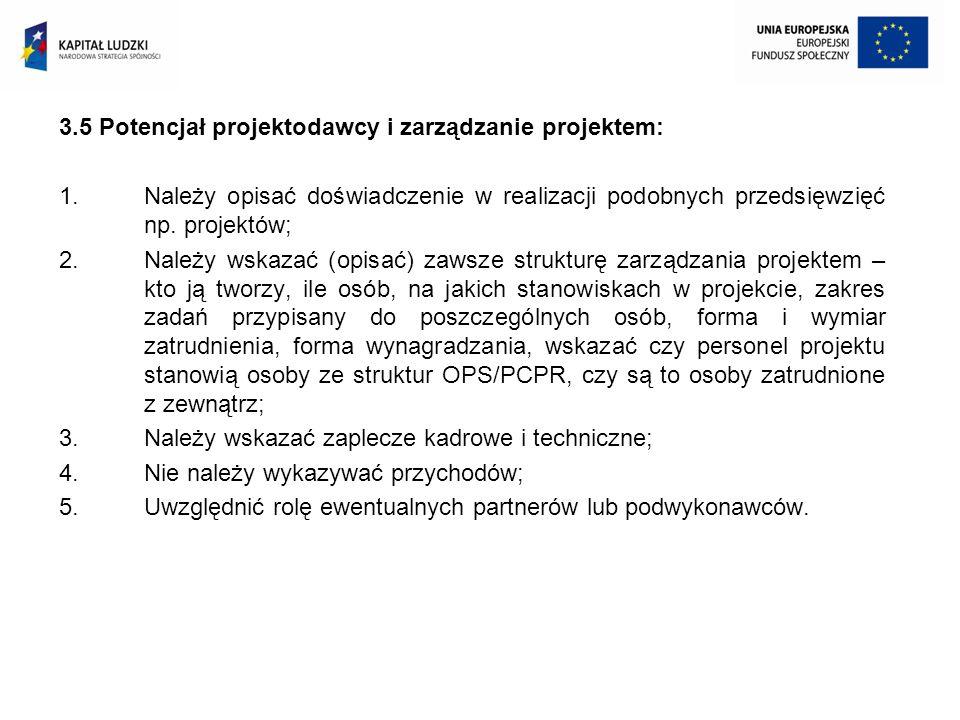 3.5 Potencjał projektodawcy i zarządzanie projektem: