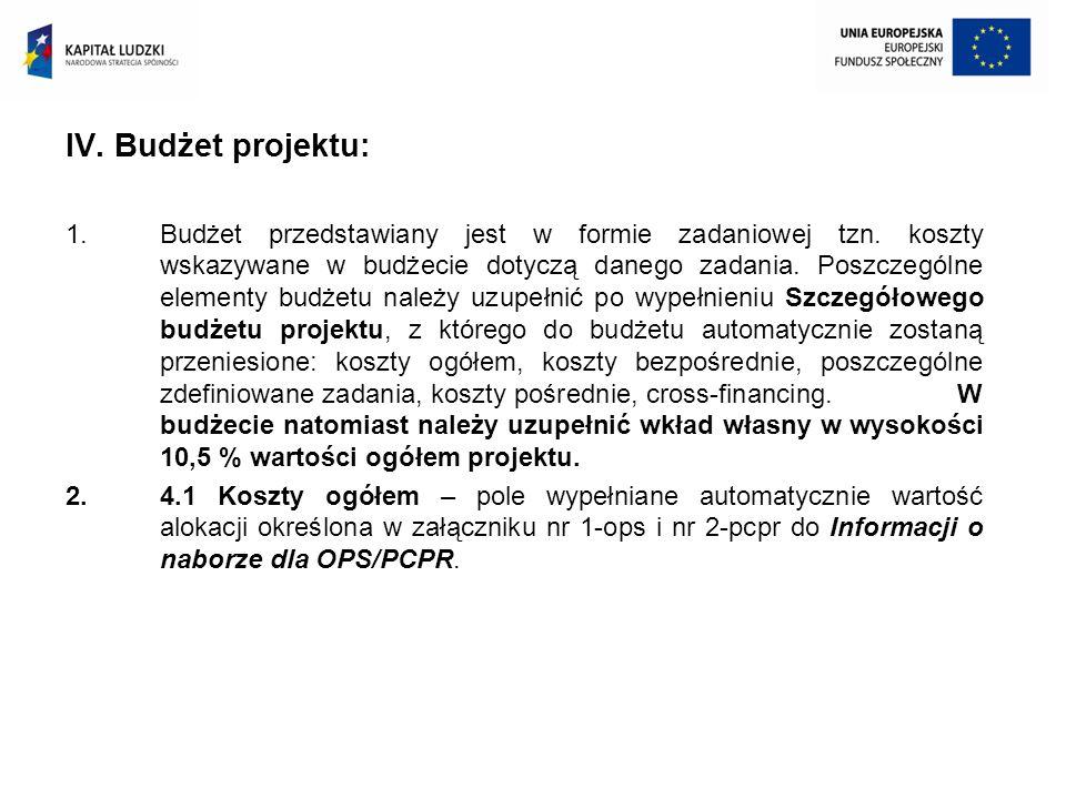 IV. Budżet projektu: