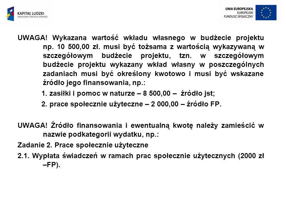 UWAGA. Wykazana wartość wkładu własnego w budżecie projektu np