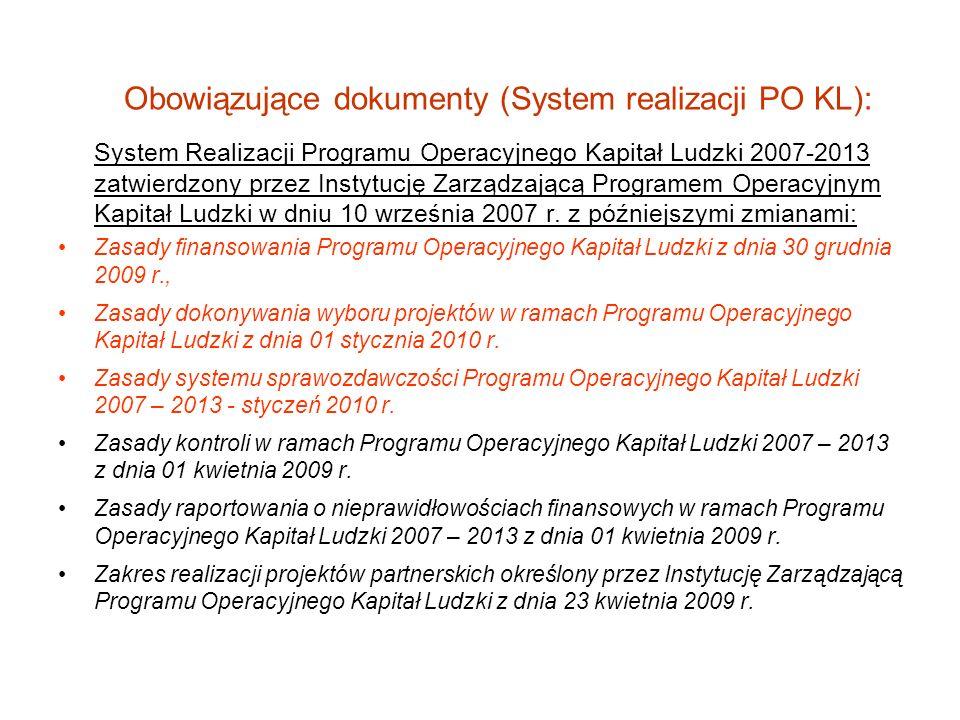 Obowiązujące dokumenty (System realizacji PO KL):