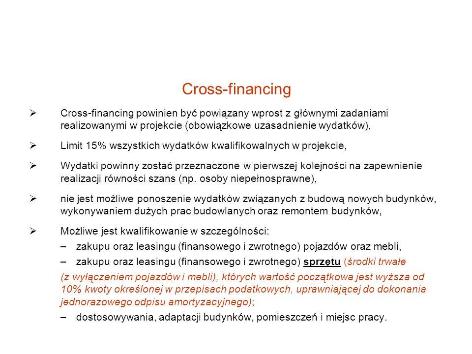 Cross-financing Cross-financing powinien być powiązany wprost z głównymi zadaniami realizowanymi w projekcie (obowiązkowe uzasadnienie wydatków),