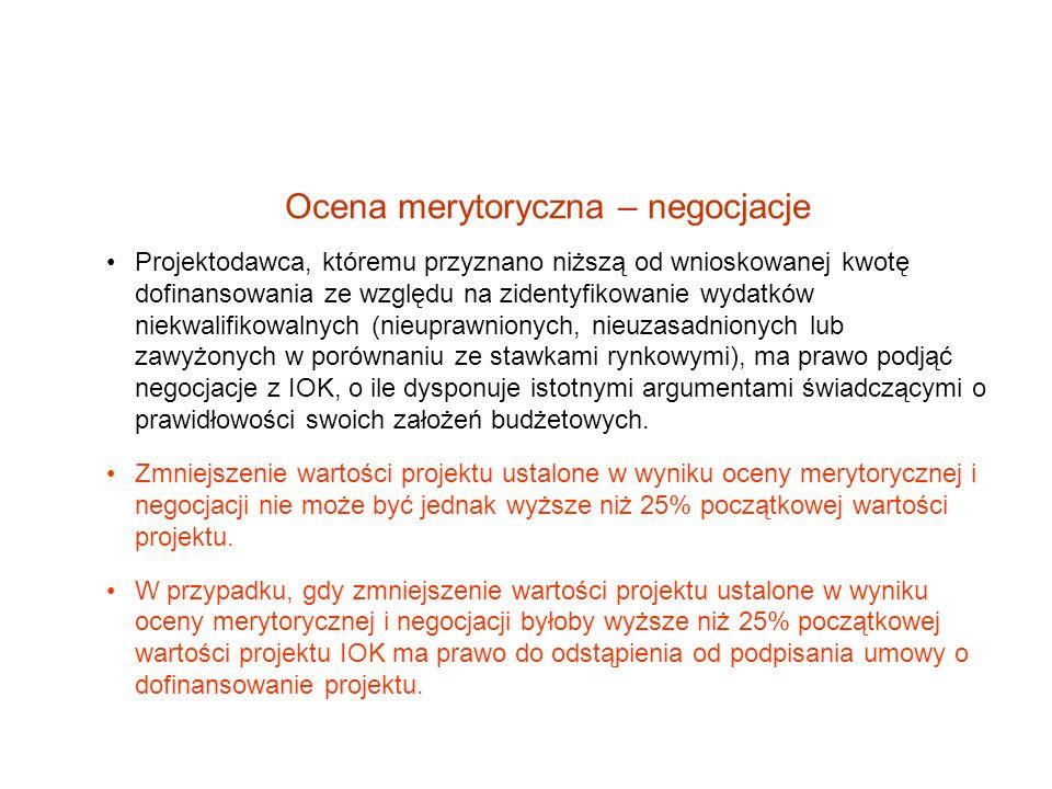 Ocena merytoryczna – negocjacje